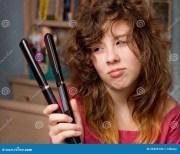 girl bad hair day stock