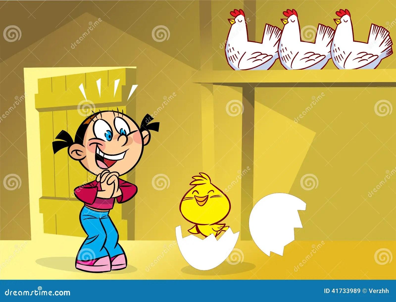 Girl in the henhouse stock vector Image of women girls