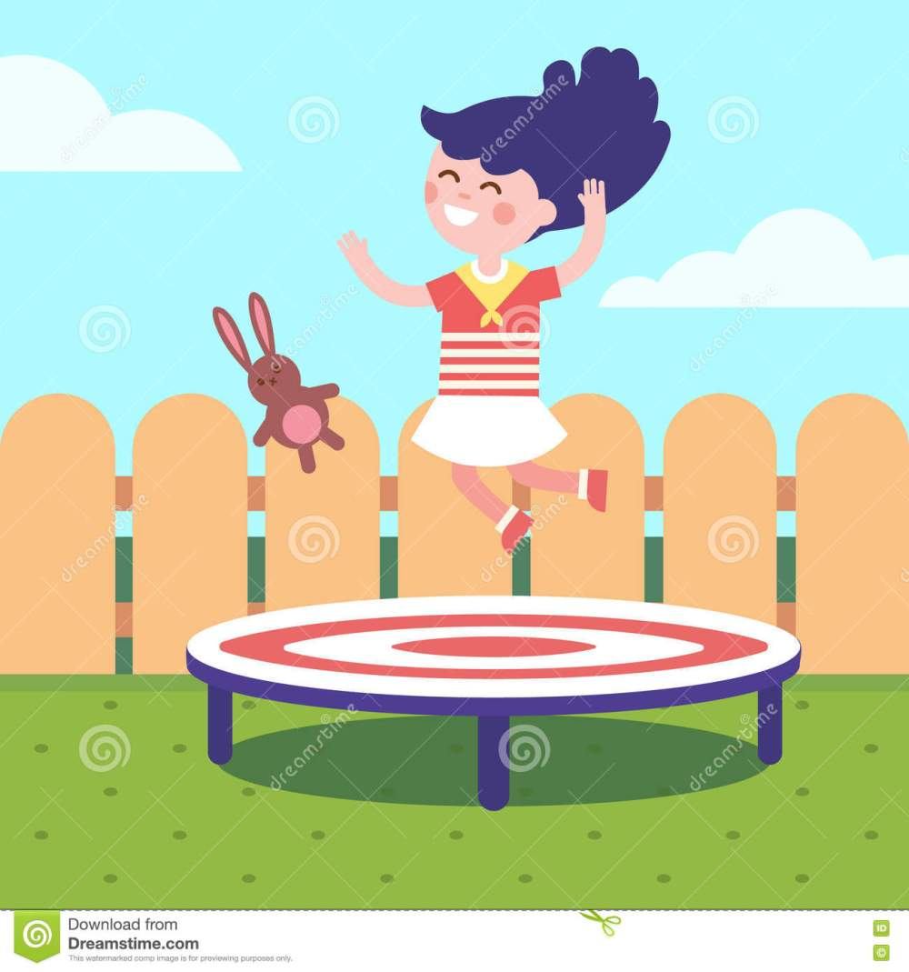 medium resolution of girl jumping on a trampoline at the backyard childhood joy and happiness modern flat vector illustration clipart