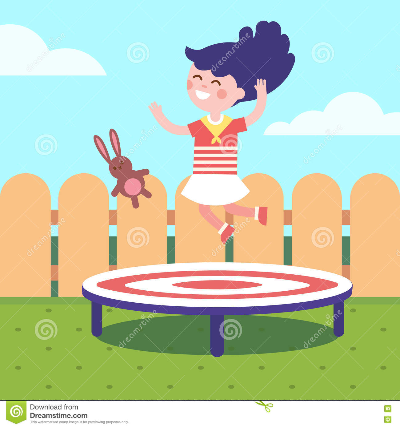 hight resolution of girl jumping on a trampoline at the backyard childhood joy and happiness modern flat vector illustration clipart