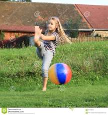 Girl Kicking Inflating Ball Stock - Of Blondie