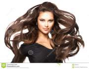 girl with long blowing hair stock