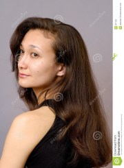 girl with long brown hair stock