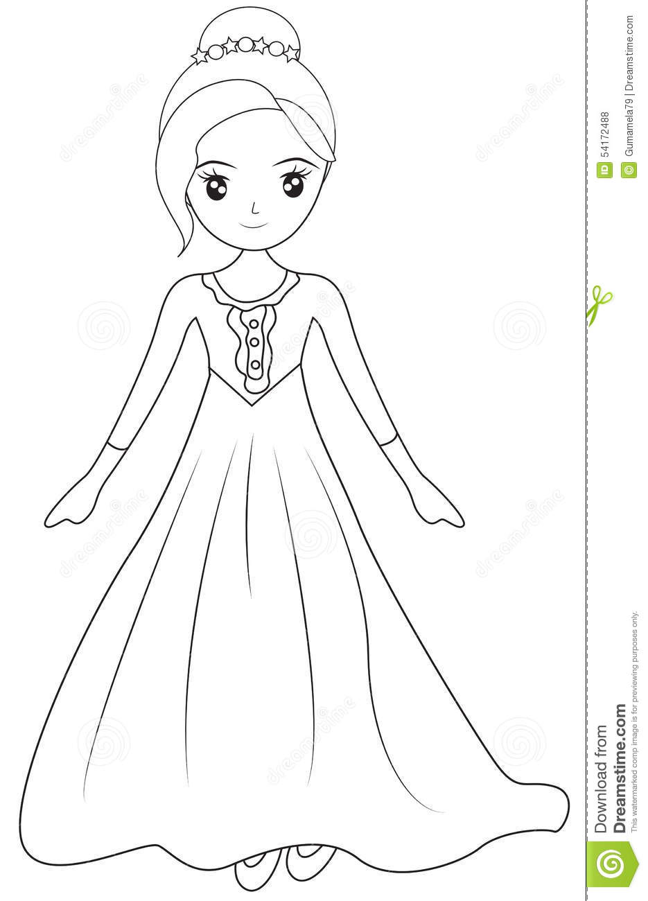 Girl In A Long Sleeve Gown Coloring Page Stock