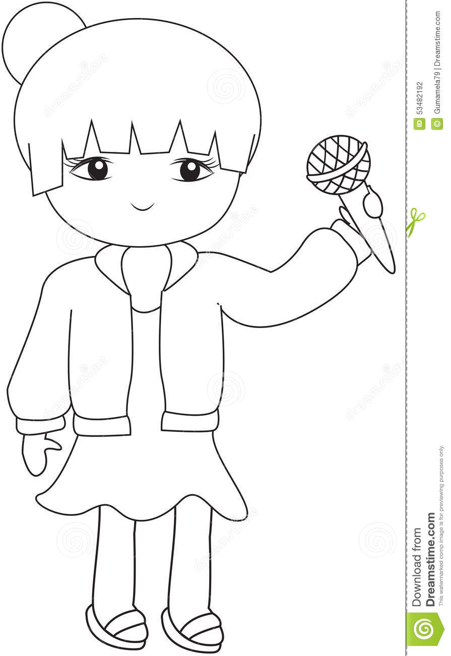 Girl With A Microphone Coloring Page Stock Illustration