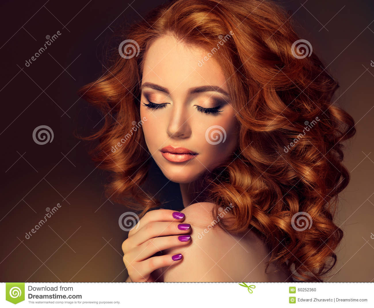Girl Model With Long Curly Red Hair Stock Photo  Image of head coiffeur 60252360