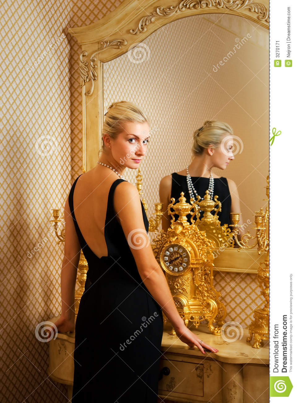 Girl Near Luxury Mirror Stock Image  Image 3270171