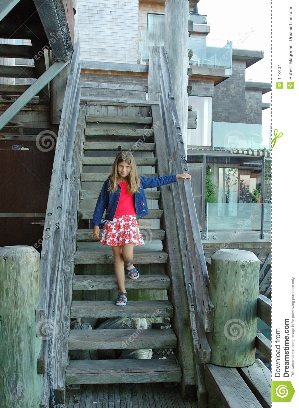 Girl And Old Wooden Stairs Stock Images  Image 178404