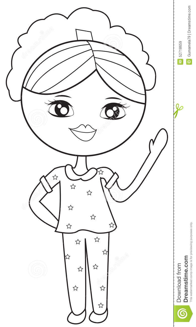 Girl In Pajamas Coloring Page Stock Illustration