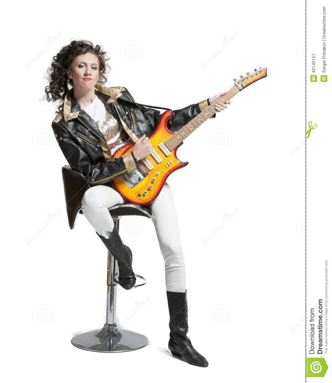 guitar playing chair sheepskin covers canada girl on electro stock photo image 40140157