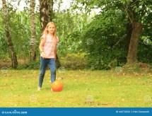 Girl Playing Football Stock - 44272032