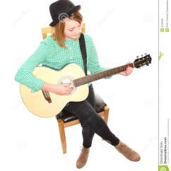 Guitar Playing Chair Designer Covers Gregory Hills Nsw Girl Stock Photo Image Of Busking Above
