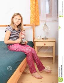 Girl Playing With Tablet Stock Of Child
