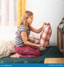 Girl Prepairing Bed Sleeping Stock - 48549457