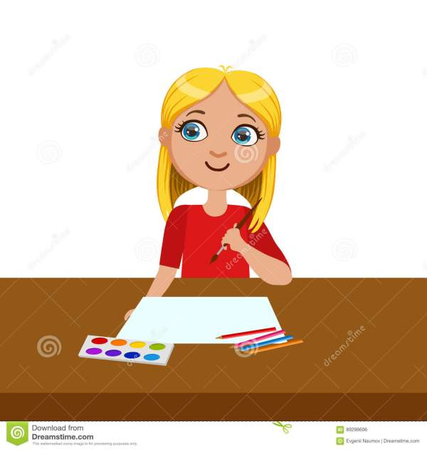 Girl Ready Start Painting Elementary School Art Class