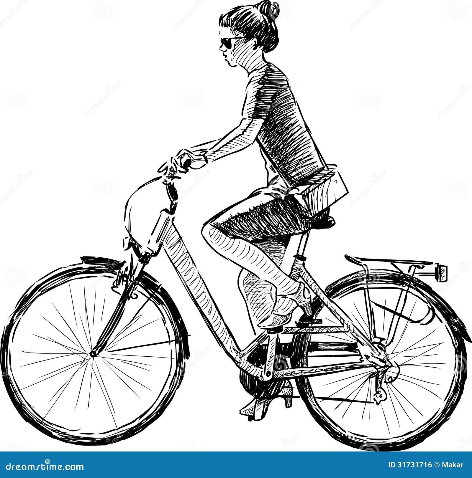 Girl riding a bike stock vector. Illustration of