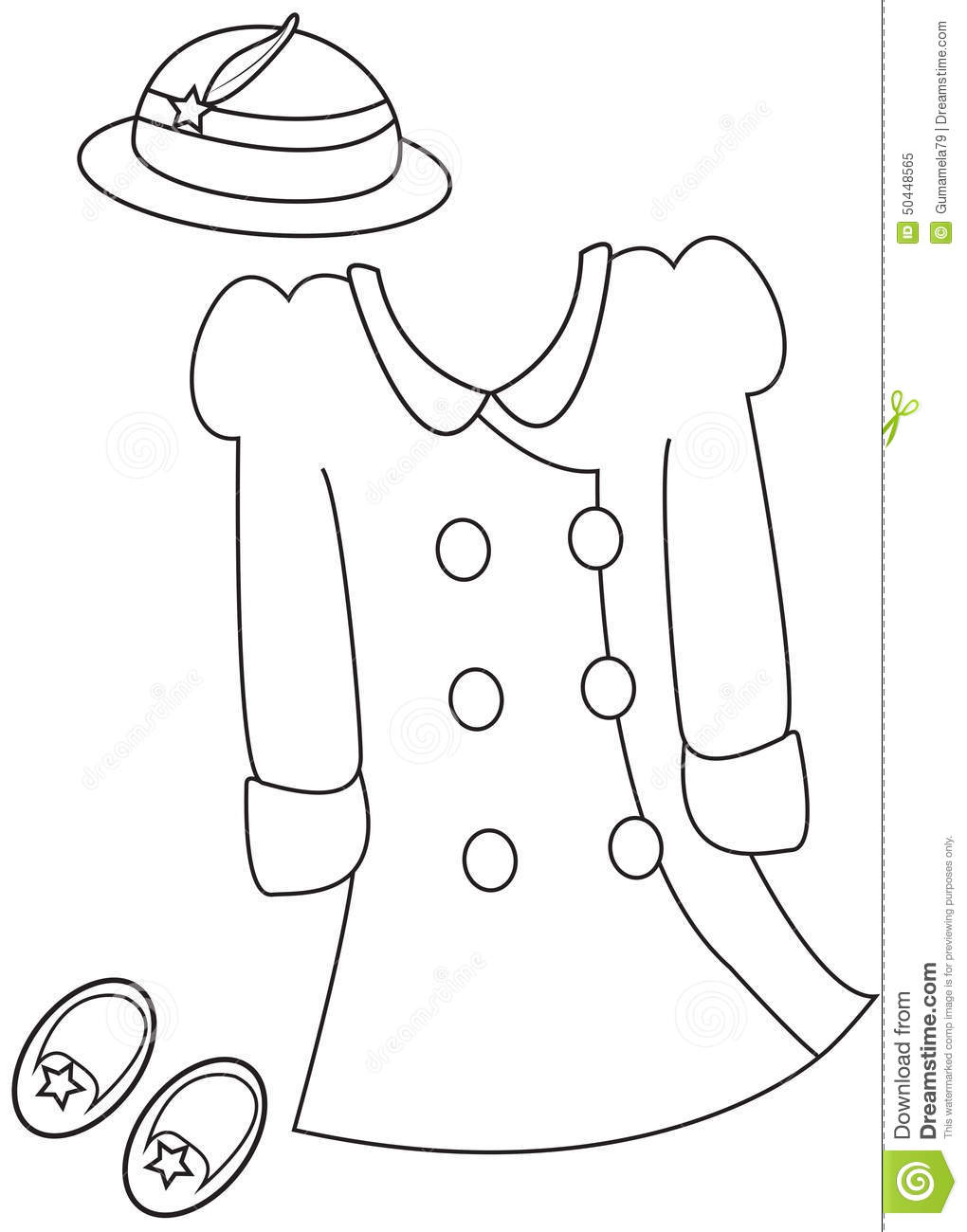 Girl's Clothes Coloring Page Stock Illustration