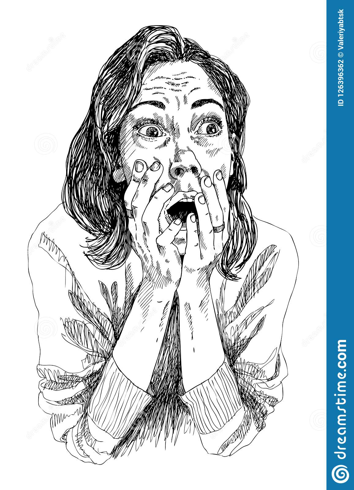A Girl In Shocked Emotion Woman Holds A Hand Near Her Mouth The Girl Is Scared High Detailed Hand Drawing Vector Stock Vector Illustration Of Frightened Female 126396362