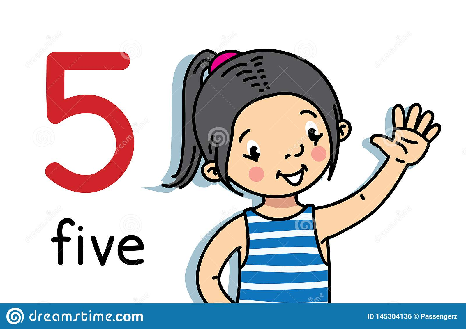Girl Showing Five By Hand Counting Education Card Stock