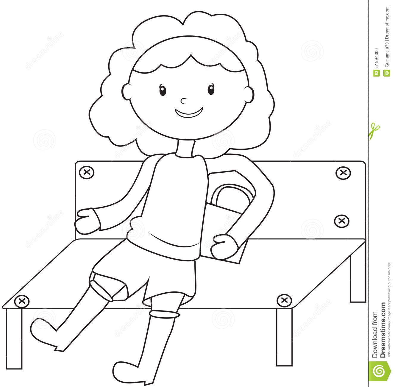 Bench Coloring Page Pages Sketch Coloring Page
