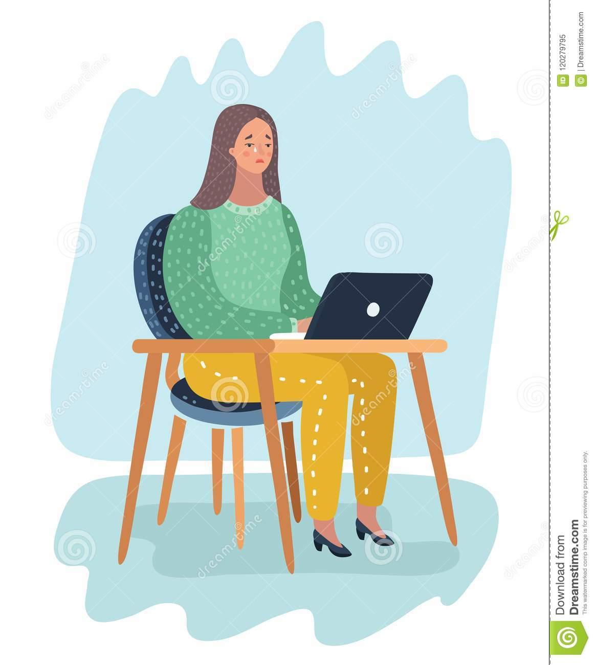 Girl Sitting In Front Of Laptop And Cry Stock Vector