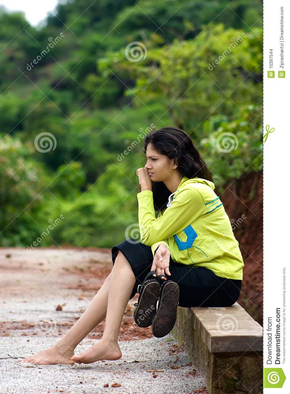 Girl Sitting On Side Bench Stock Images Image 10397544