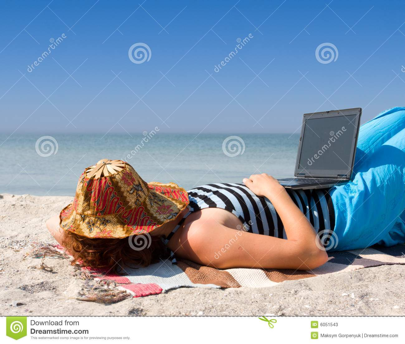 Beautiful Girl With Hat Wallpaper Girl Sleep With Laptop Computer At Sea Beach Stock Image