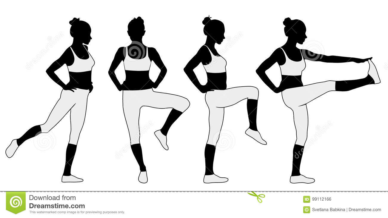 Silhouette Of Woman Warming Up Her Legs For Fitness