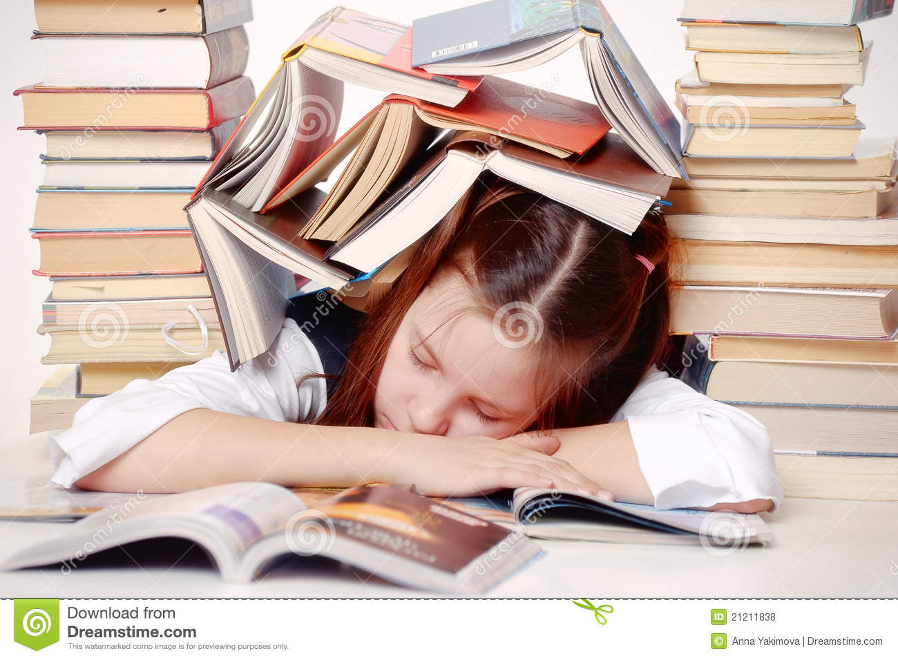 hight resolution of girl student with books