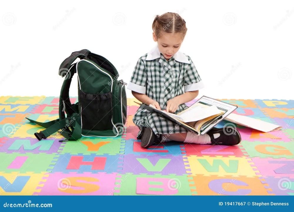 medium resolution of girl student studying school homework reading book