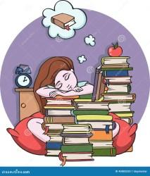 Girl Studying At Night Sleeping With Books Vector Illustration Illustration 40882520 Megapixl