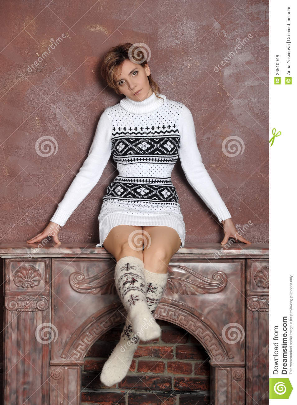Girl In A Sweater And Socks Stock Photo  Image 26510946