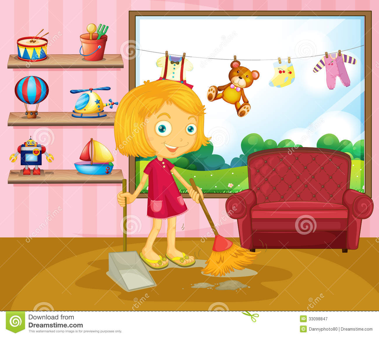A Girl Sweeping Inside The House Royalty Free Stock Photography  Image 33098847