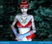 girl with tattoo - horned skull