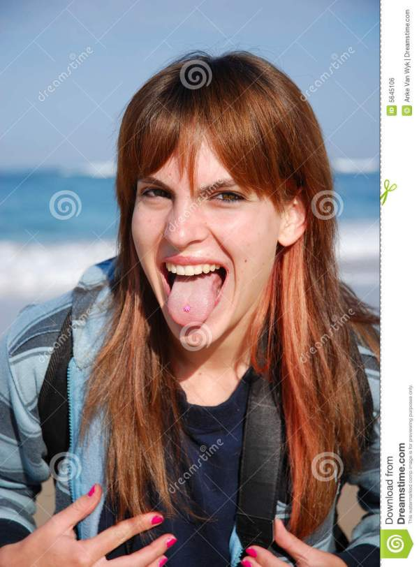 Girl Sticking Tongue Stock Of Wide - Year of Clean Water