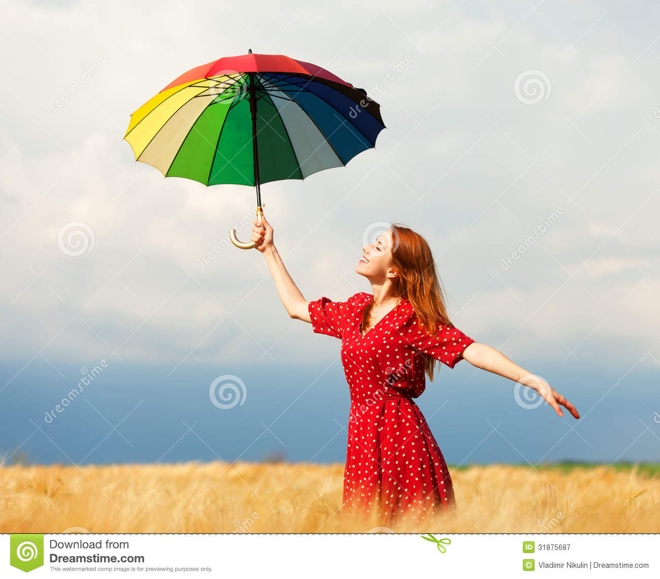 Girl With Umbrella Stock Image Image Of Clouds