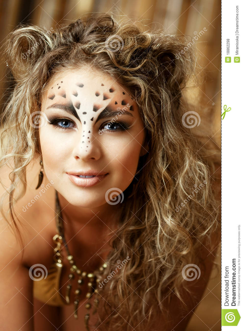 Girl With An Unusual Make Up As A Leopard Stock Photo