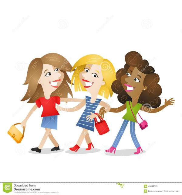 Girlfriends Walking Attractive Friendship Stock Vector