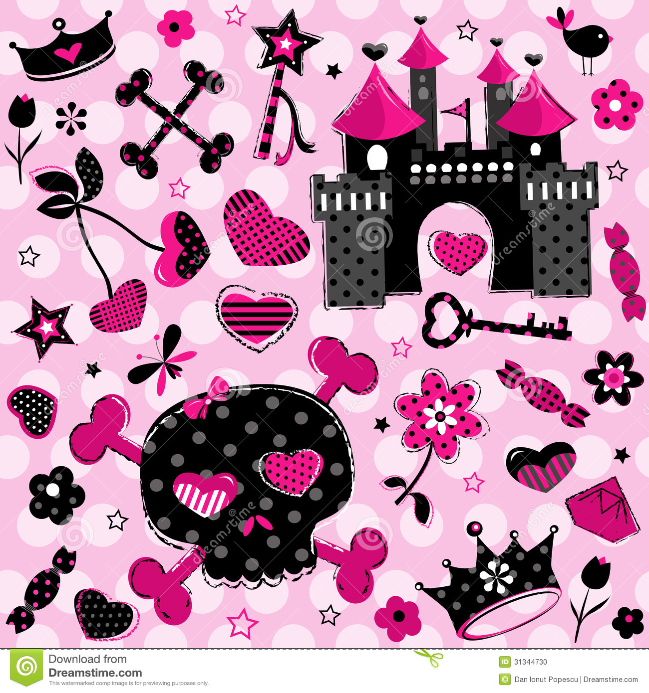 Cute Pink Butterfly Wallpaper Girlish Aggressive Cute Black And Red Elements Stock Photo