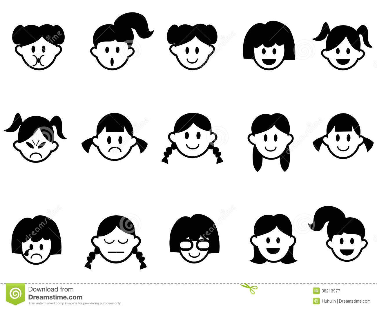 Girls Emotion Face Icons Stock Vector Illustration Of
