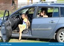 Girls Leaving Car Stock - 33477830