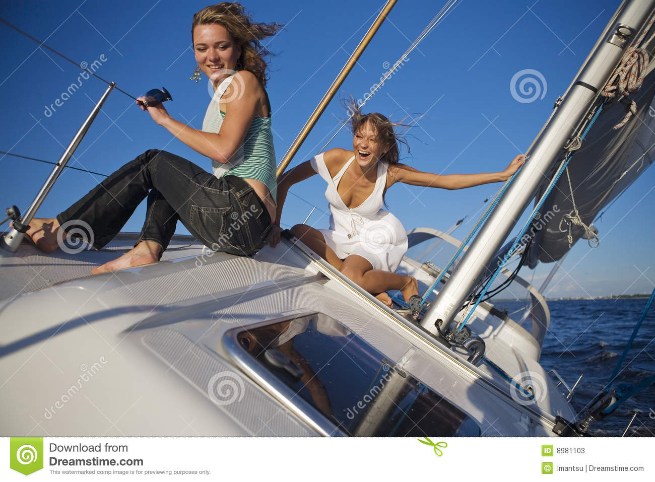 Girls Posing On A Yacht Stock Image Image Of Relaxation