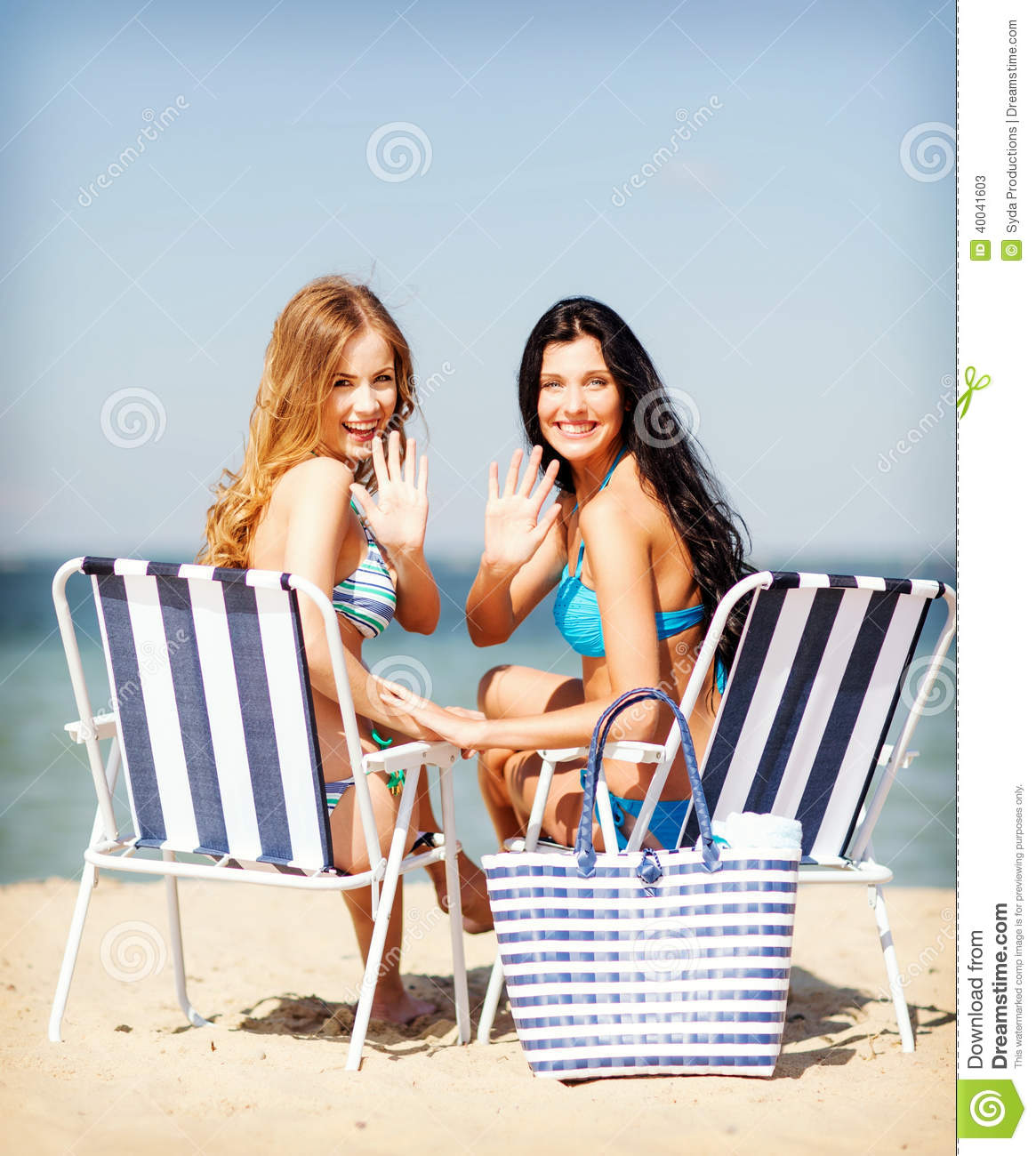 Sunbathing Chairs Girls Sunbathing On The Beach Chairs Stock Photo Image