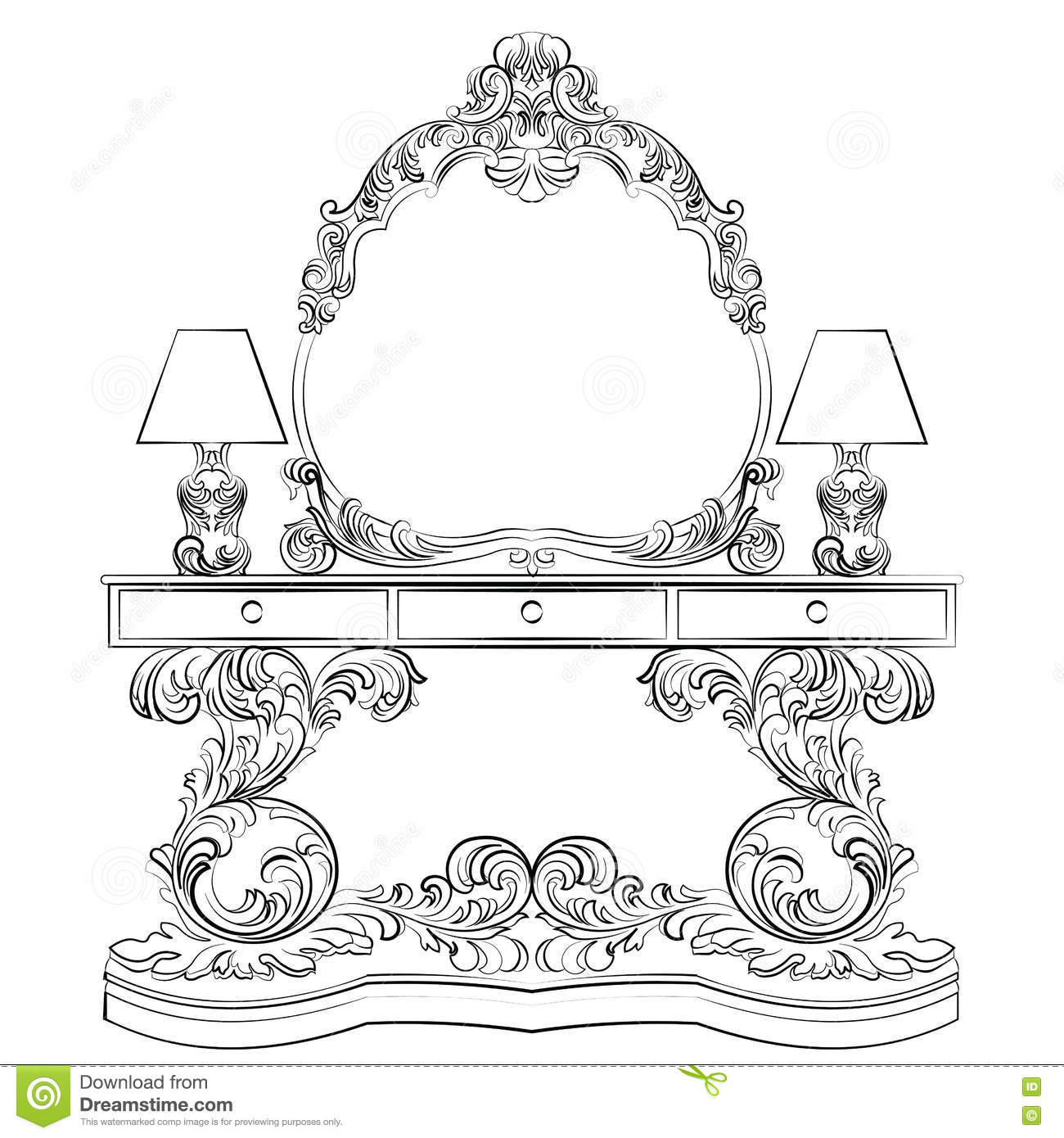 Glamorous Fabulous Baroque Rococo Console Table Stock
