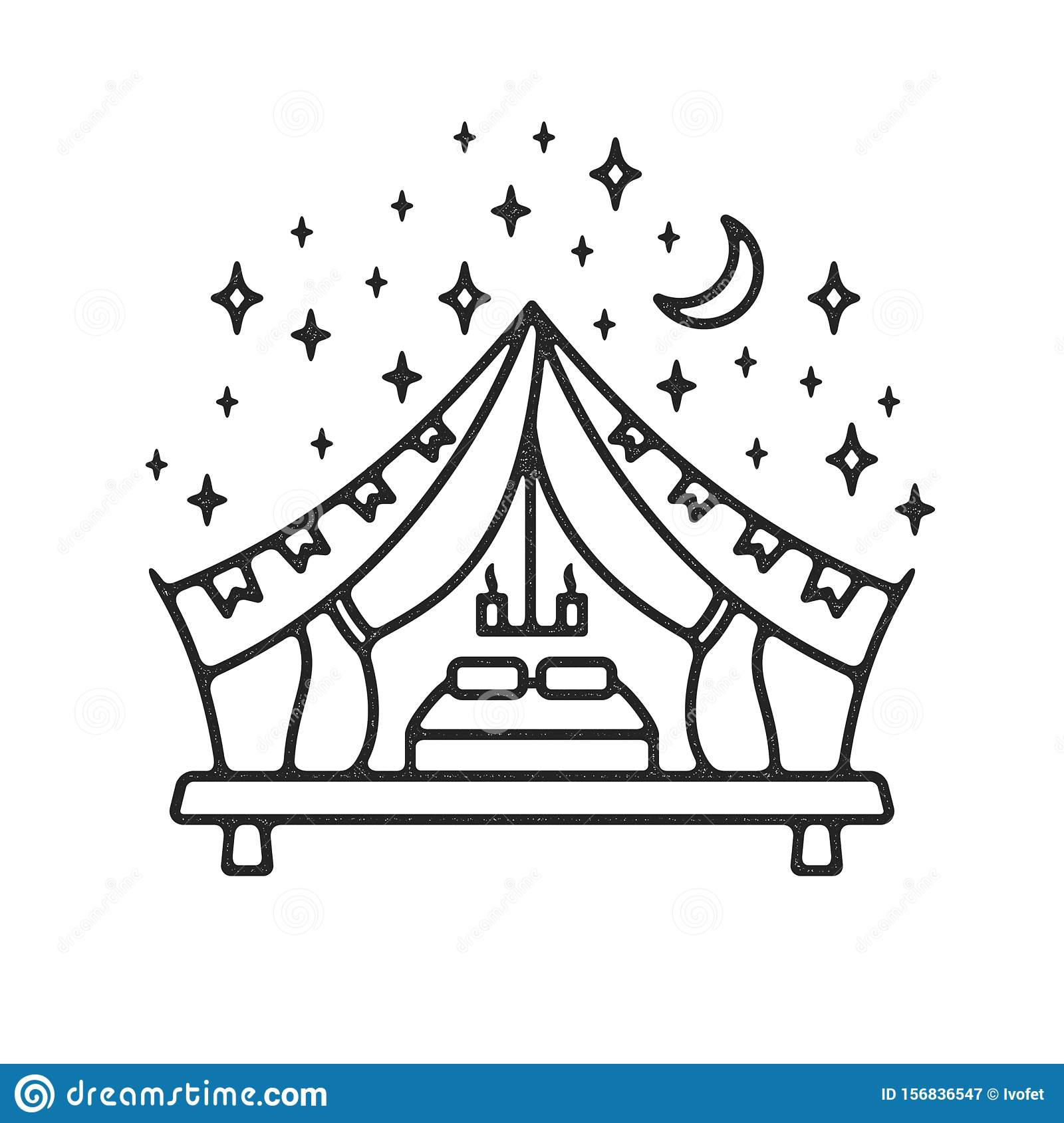 Glamping tent grunge logo stock vector. Illustration of luxurious - 156836547