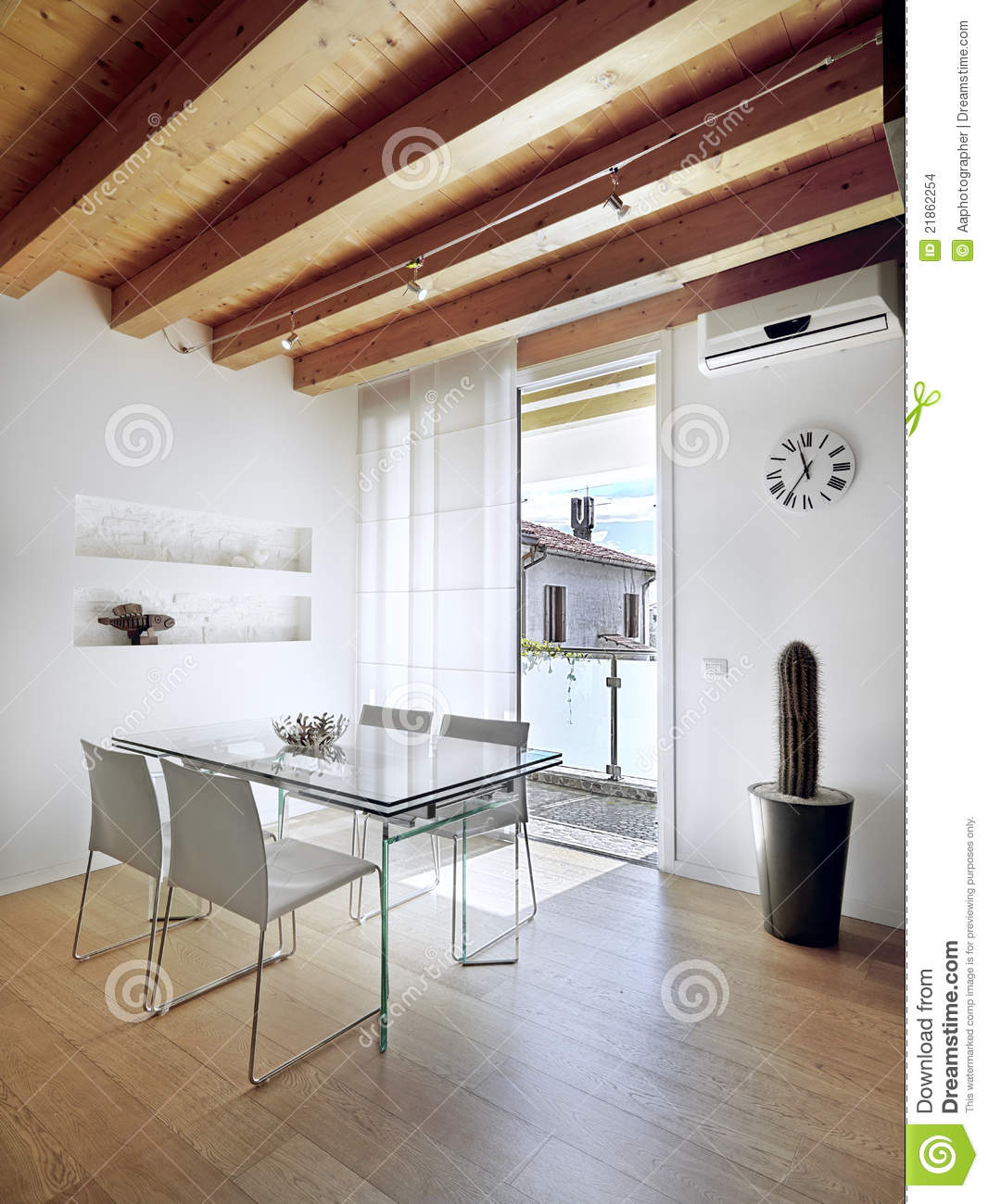 Glass Dining Table In Modern Apartment Stock Photo Image Of Fixtures Niche 21862254