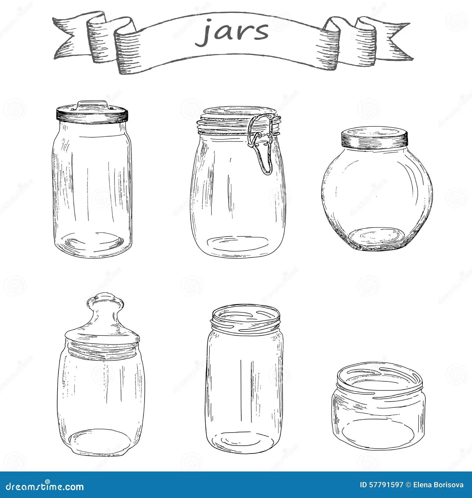 Glass Jars Cartoon Vector