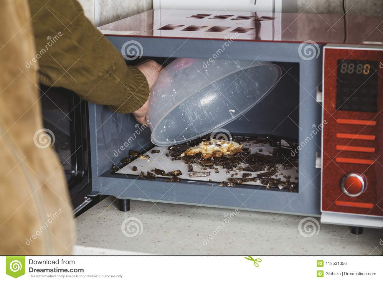 https www dreamstime com glass plate exploded microwave oven plate broke microwave oven heating glassware shattered small pieces image113531056
