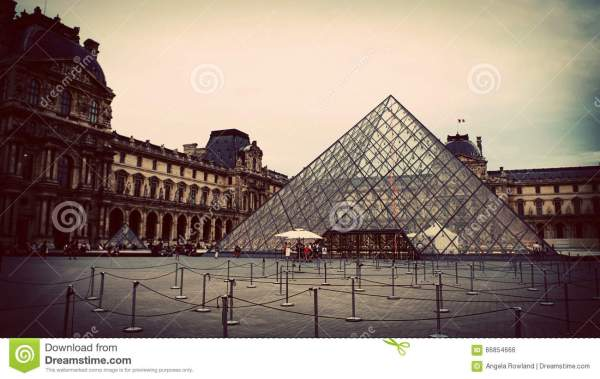 Glass Pyramid Of Courtyard Louvre Museum Paris France Stock - 66854666
