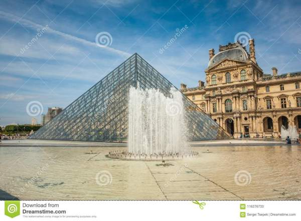 Glass Pyramid And Fountain Louvre Art